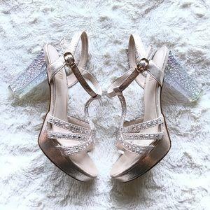 Champagne Gem Studded High Heels